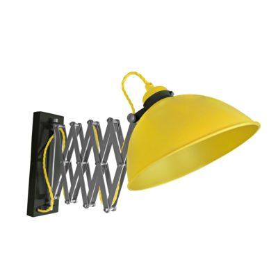 Yellow Scissor Arm Wall Light Black Two Tone