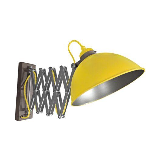 Yellow Scissor Arm Wall Light Gunmetal Inner