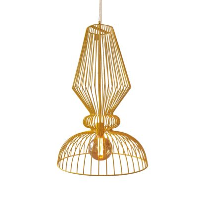 Yellow Wire Pendant Light