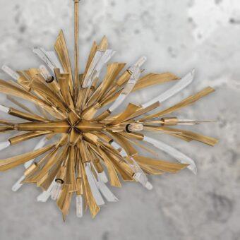 Wide 13 Light Gold Burst Pendant
