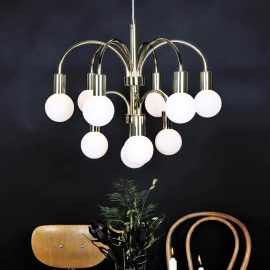 10 Light Contemporary Brass Chandelier