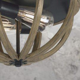 2 Light Rustic Wood Flush Mount Light