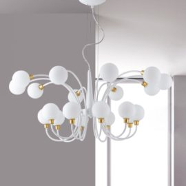 20 Light White Globe Chandelier