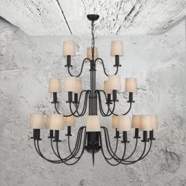 21 Light Three Tier Black Chandelier