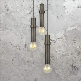 3 Light Brass Tube Pendant Cluster