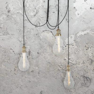 3 Light Crackle Glass Cluster Pendant