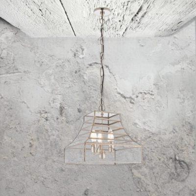 3 Light Glass Frame Pendant