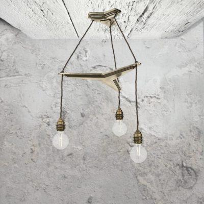 3 Light Industrial Bronze Chandelier