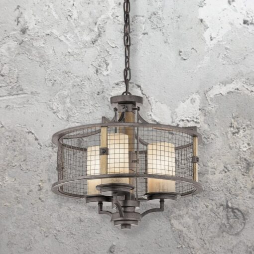 Rustic 3 Light Mesh Chandelier