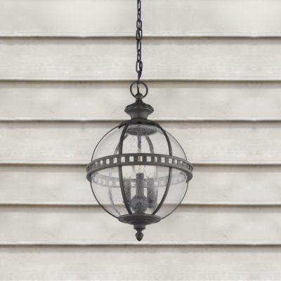 3 Light Outdoor Seeded Glass Chandelier