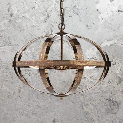 3 Light Round Burnished Copper Chandelier