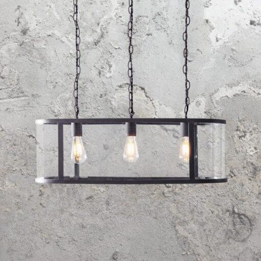 3 Light Round Glass Pendant Bar