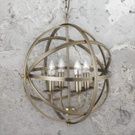 4 Light Spherical Brass Chandelier