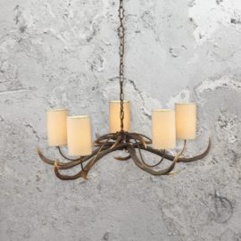 5 Light Cream Shades Antler Chandelier