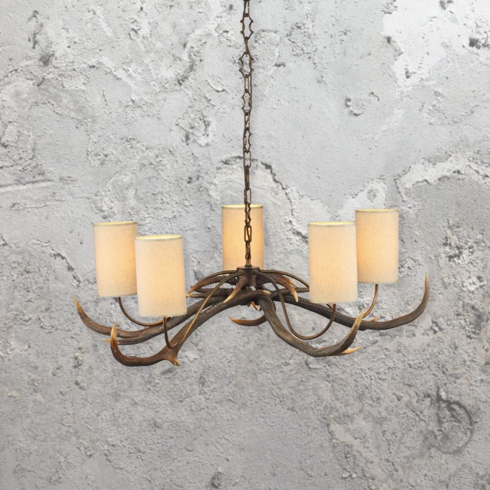 5 light cream shades antler chandelier e2 contract lighting uk 5 light cream shades antler chandelier aloadofball Image collections