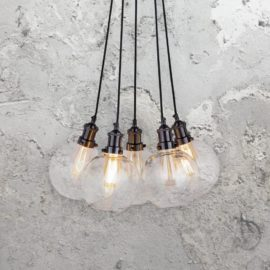 5 Light Glass Pendant Cluster