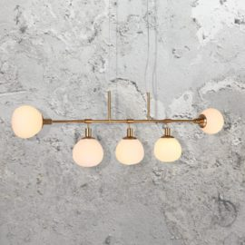 5 Light Linear Opal Globe Chandelier