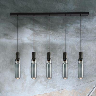 5 Light Smoked Glass Tube Pendants Bar