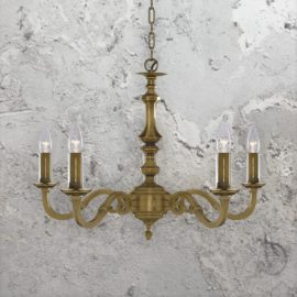 5 Light Traditional Brass Chandelier