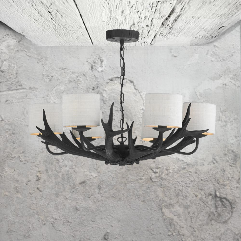 6 light black antler chandelier cl 24731 e2 contract lighting uk 6 light black antler chandelier mozeypictures Choice Image