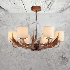 6 Light Cream Shades Antler Chandelier