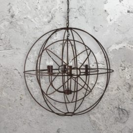 6 Light Rustic Iron Orb Chandelier