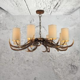 8 Light Cream Shades Antler Chandelier