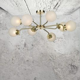 8 Light Polished Brass Opal Flush