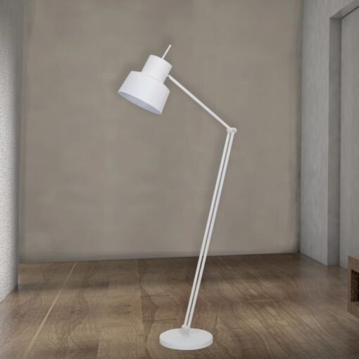White Adjustable Industrial Floor Lamp