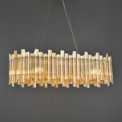 Amber Glass Contemporary Glass Island Chandelier