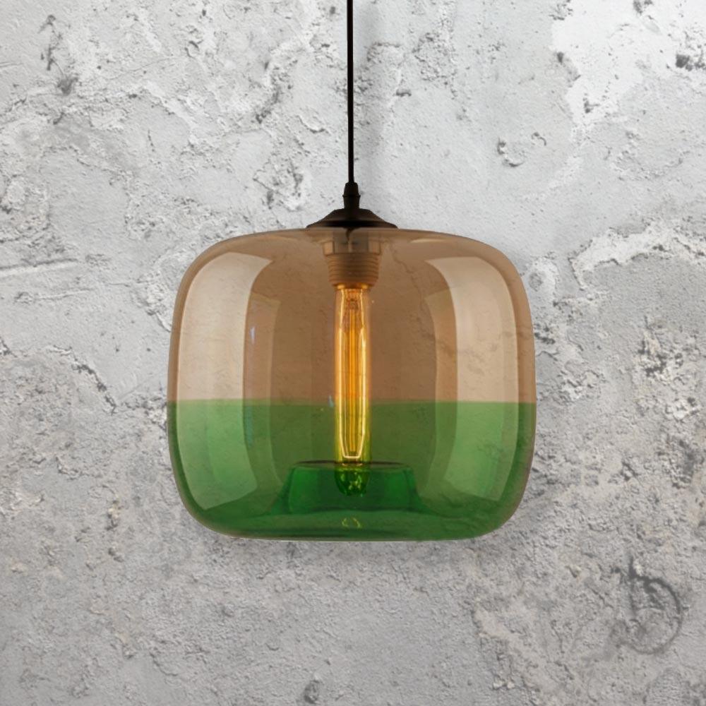 84f406f7116c Amber Green Glass Pendant Light CL-27938