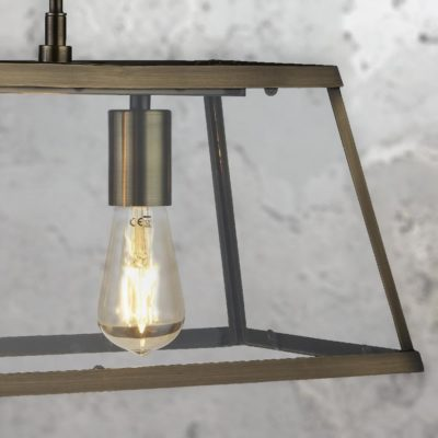 Antique Brass 3 Light Glass Box Pendant
