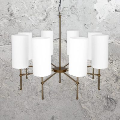 Antique Brass 8 Light Chandelier with Shades