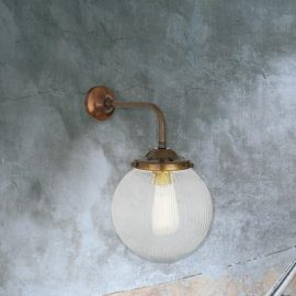 Antique Brass Clear Glass Globe Wall Light