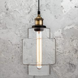 Antique Brass Clear Glass Pendant Light