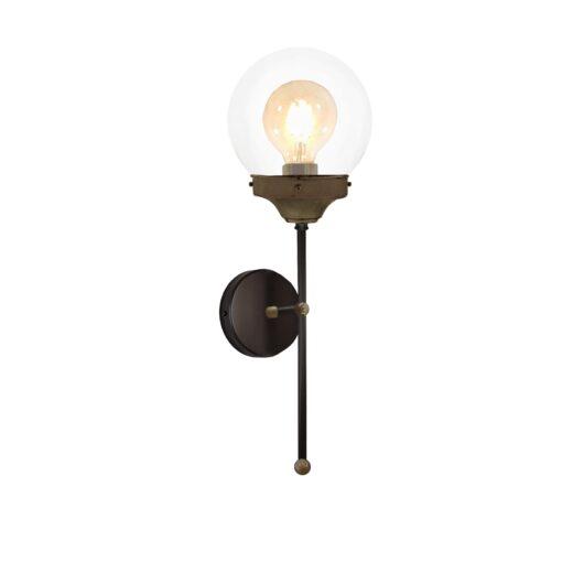 Antique Brass Clear Globe Wall Light