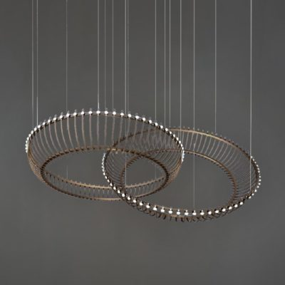 Antique Brass Double Ring Feature Light
