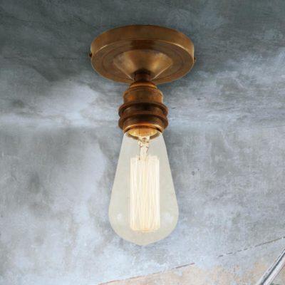 Antique Brass Edison Flush Ceiling Light