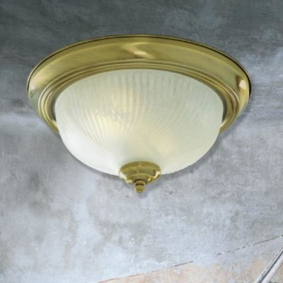 Antique Brass Frosted Glass Flush Light