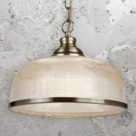 Antique Brass Holophane Pendant Light