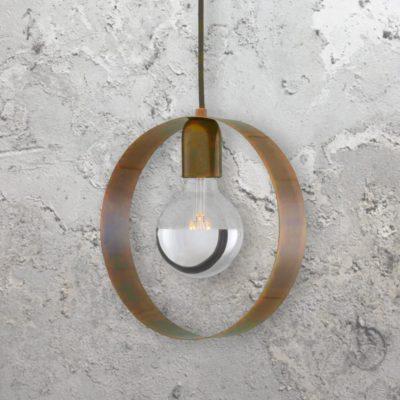 Antique Brass Industrial Ring Pendant Light