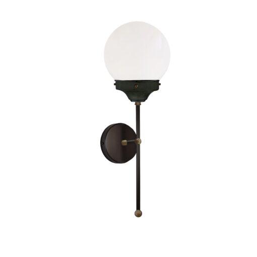 Antique Brass Opal Globe Wall Light