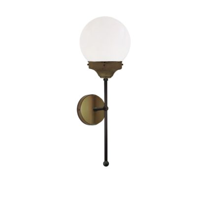 Antique Brass Opal Globe Wall Light