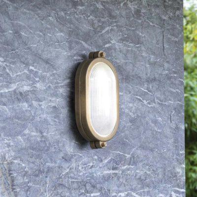 minimal nautical outdoor antique brass oval wall light