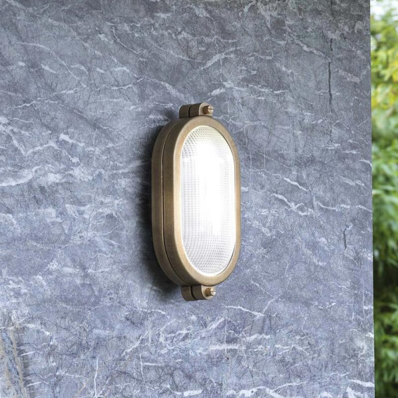 minimal nautical outdoor antique brass oval wall light