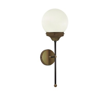 Antique Brass Prismatic Globe Wall Light