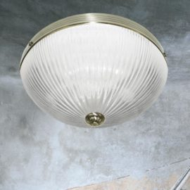 Antique Brass Ribbed Glass Flush Light