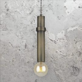 Antique Brass Tube Pendant Light