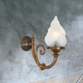 traditional one light antique brass wall sconce fitting,flame shaped glass lamp shade