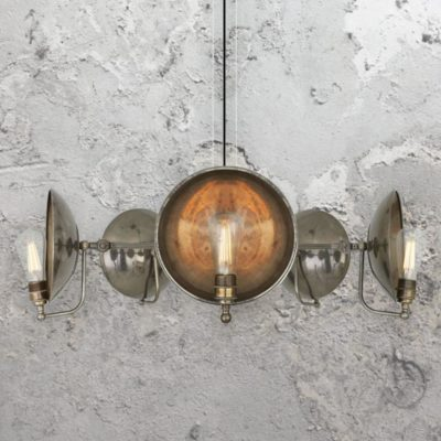 Antique Silver 5 Light Dish Chandelier